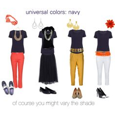 """""""universal colors: navy"""" by expressingyourtruth on Polyvore"""