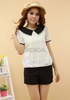 Applied 1PC Fashion Women Casual Lace Chiffon Pan Collar T-Shirt Blouse Top_Blouses_Women_Women's Fashion Zone & Best Price Clothes