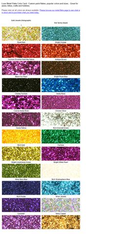 Metal flake color card.