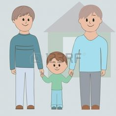 Gay couple holding his son by the hand