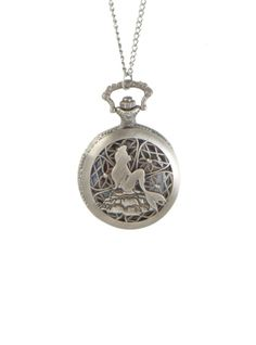 Burnished silver tone chain and pocket watch with cut-out The Little Mermaid design.