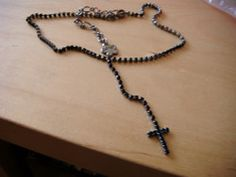 """New Listing Started Mikey black diamante necklace, 13""""long,extends 4""""/ cross drop3""""good condition £1.55"""