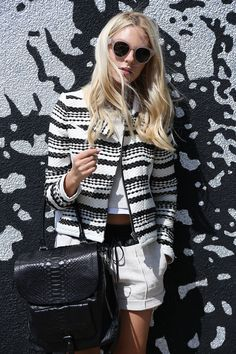 Peace Love Shea Is Wearing A Monochrome Outfit Consisting OfTop And Short From ALC, Jacket From IRO And Bag From Barbara Bui