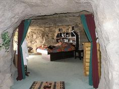 Rooms carved into the rock at Kokopelli Cave Bed and Breakfast in New Mexico.