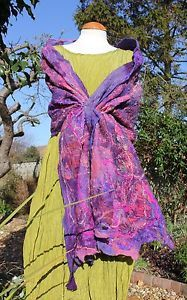 Handmade-purple-Pink-silk-wool-Nuno-felt-felted-shawl-wrap-Lagenlook-Nunofilz