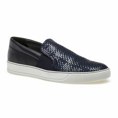 Vintage Style Navy Blue Black Braided Leather Casual Dress Shoes Men SKU-1100397