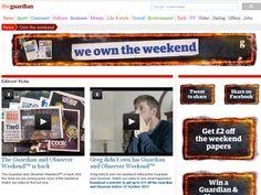 Guardian 'Own the weekend' online homepage