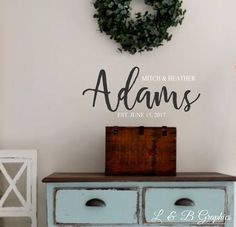 Personalized Name with first name, last name and established date - Vinyl Wall Decal- Bedroom Decor- Wedding- Home Wall Decor- Scripture by landbgraphics on Etsy