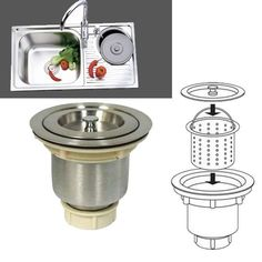 US $8.68 Stainless Steel Kitchen Bar Sink Stopper Drain Waste Plug Strainer Basket Filter