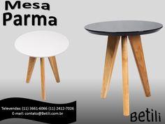 Mesa Parma Betili Confeccionada em madeira, a mesa Parma é composta por um tampo de 25mm em madeira MDF e 3 pernas de Carvalho branco americano. Contato (11) 2866-0209 contato@betili.com.br
