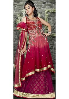 Shaded Red and Deep Pink Net Flare Lehenga Choli With Dupatta