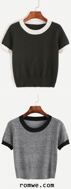 Black & Grey Contrast Trim Knitted T-shirt