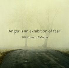 'Anger is an exhibition of fear.' - His Holiness Younus AlGohar