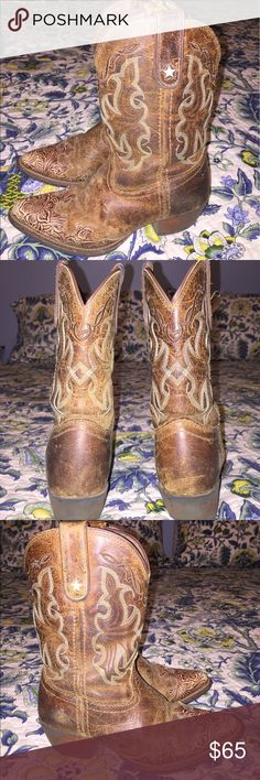 Girls Tony Lama Leather Cowgirl Boots Tony Lama Leather Cowgirl Boots. Girls size 1. The size is worn off the inside.  These boots have been loved, treasured and well broken in but still beautiful and in great condition. The bottoms show they have been worn and have been a favorite.  All seams are still in perfect shape and no cuts or scratches in the leather. All these  boots need is a cute little girl to belong to!  Original price $129. Tony Lama Shoes Boots