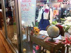 Back to School window display at Steins at Sunset Florist, Burlington, NJ
