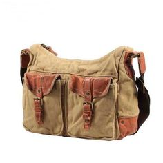 Wrangler canvas crossbody bag with two leather flap pockets unisex from  Vintage rugged canvas bags c2d57fe8ea