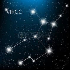 Illustration of Virgo vector Zodiac sign bright stars in cosmos. vector art, clipart and stock vectors. Virgo Love Horoscope, Horoscope Tattoos, Astrology And Horoscopes, Cancer Horoscope, Virgo Zodiac, Virgo Star Constellation, Star Constellations, Constellation Tattoos, Cosmos
