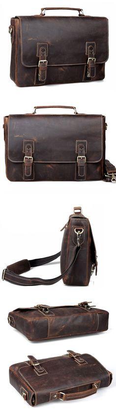 "Handmade Vintage Crazy Horse Leather Messenger Briefcase 14"" Laptop 15"" Macbook Ipad Case Tote Bag"