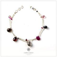 Red & Black Two Chain Bracelet Gemstone Bracelets, Red Black, Beaded Necklace, Gemstones, Chain, Silver, Jewelry, Beaded Collar, Jewlery