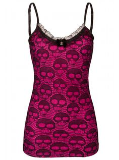 "Women's ""Skull Lace"" Neon Tank by Jawbreaker (Pink) #inkedshop #skulllace #ilovethis"