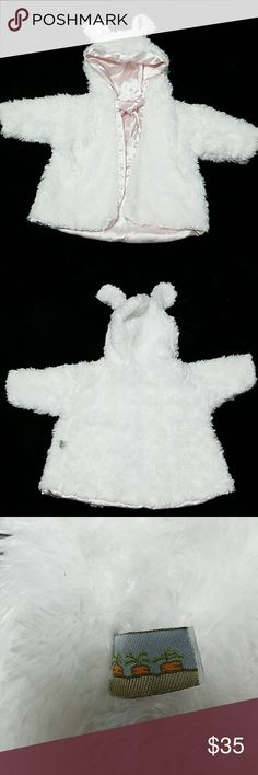 Bunnies by the bay White faux-fur coat Beautiful white faux fur coat with light pink lining. Excellent condition Bunnies by the Bay Jackets & Coats