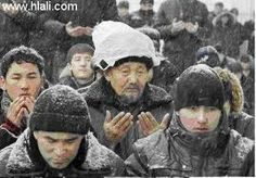 Praying under the snow  Islam is the greatest