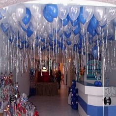 white balloons and lights coming from ceiling 18th Birthday Party, Frozen Birthday Party, Baby Birthday, Birthday Celebration, Disco Party Decorations, Birthday Balloon Decorations, Baby Shower Decorations, Balloon Ceiling, Ceiling Decor