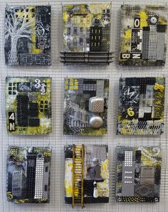 Appropriatelyfrayed:collage and mixed media with found objects. Title is Urban Grid.