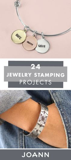 Getting into jewelry making is easy when you've got this collection of 24 Jewelry Stamping Projects to use as guides! Click to learn how JOANN can help you make Silver & Leather Hand Stamped Bracelets, A DIY Textured Cuff, and more. Hand Stamped Necklace, Stamped Jewelry, Metal Jewelry, Jewelry Stamping, Love Necklace, Bar Necklace, Diy Jewelry Projects, Metal Stamping, Clay Earrings