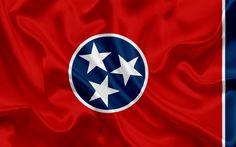 Herunterladen hintergrundbild tennessee state flag, flaggen von staaten, flagge-staat tennessee, usa, bundesstaat tennessee, rote seide-flag