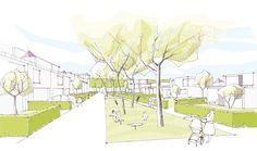 3rd Prize: Perspektive Wohnanger, © QUERFELDEINS Landschaft | Städtebau | Architektur