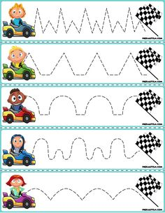 1 Trace The Pattern Race Cars To Checkered Flag Cars Preschool, Preschool Writing, Free Preschool, Preschool Printables, Preschool Worksheets, Toddler Preschool, Toddler Worksheets, Printable Shapes, Printable Cards