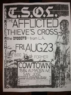 80 s punk show flier from California w/ TSOL, Afflicted, Thieve s Cross, Daggers