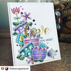 #Repost @littlescrappilandi ・・・ Just love how this turned out!! #flowers #love #minc #foil #mftstamps #sss #simonsaysstamp #doodleblooms #springtimeblooms #gems #gemstones