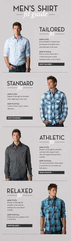 Camisas y su ciencia... Men's shirt fit guide www.buckle.com
