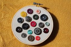 buttons in embroidery hoop  cute and easy project