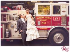 Wedding Photos, Groom is a firefighter, Firetruck Wedding Photo, Love it!