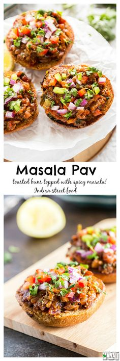 Masala Pav is popular street food from Mumbai! Toasted buns are topped with a spicy masala, these are best enjoyed with chai! Find the recipe on www.cookwithmanali.com