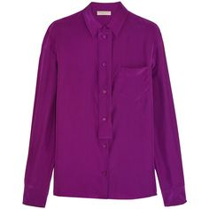 Emilio Pucci Silk-satin shirt ($210) ❤ liked on Polyvore featuring tops, blouses, grape, loose fit tops, emilio pucci tops, loose blouse, shirt top and purple top