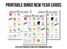 BINGO New Year Printable - download these printable files to play BINGO on New Year's Eve from thirtyhandmadedays.com