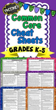 FREE Common Core Math Cheat Sheets for grades K-5!!