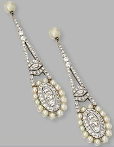 Diamond and cultured pearl pendant earrings by Adler. Diamond and pearl earrings by Fecarotta, century. Natural pearl and . Pearl And Diamond Earrings, Pearl Jewelry, Antique Jewelry, Vintage Jewelry, Diamond Jewellery, Art Deco Jewelry, Fine Jewelry, Jewelry Design, Schmuck Design