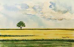 #gouachepainting #gouache #painting #sky Easy Landscape Paintings, Cool Landscapes, Easy Paintings, Watercolor Trees, Easy Watercolor, Watercolor Landscape, Watercolour Painting, Watercolours, Tree Art
