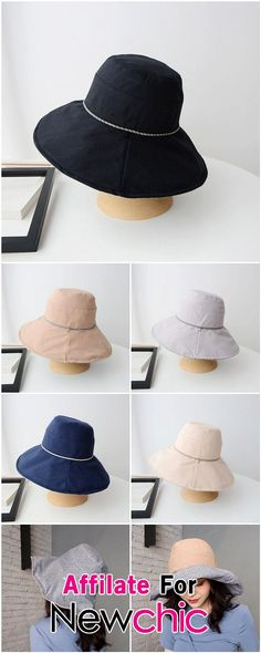 Female Basin Caps Ribbon Letter Summer Spring Flat Top Big Brim Bucket Hats