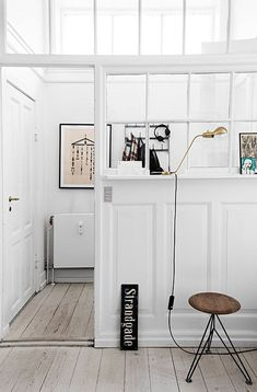 The Small Historic Home of Aiayu Co-Founder In Copenhagen - Nordic Design Interior Windows, Interior Walls, Home Interior, Interior And Exterior, Interior Decorating, Interior Design, Garage Interior, Interior Work, Apartment Interior
