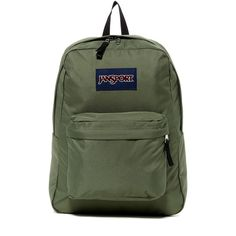 JANSPORT Superbreak Backpack ($36) ❤ liked on Polyvore featuring bags, backpacks, muted gree, green backpack, strap bag, jansport backpack, jansport and day pack backpack