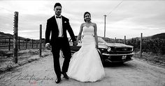 #wedding couple with a classic ford mustang in the background