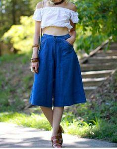 Vintage Jeans | 7s Vintage Denim High Waist Culottes Size 4 | Poshmark Vintage Jeans, Vintage Ladies, Colored Jeans, High Waisted Skirt, Polka Dots, Legs, Skirts, Pants, Outfits