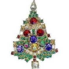 WEISS Multicolor Rhinestone Widely Copied Xmas Tree Brooch Pin: Removed Jewelry Christmas Tree, Jewelry Tree, Christmas Nails, Christmas Crafts, Christmas Decorations, Christmas Ornaments, Christmas Trees, Christmas Glitter, Christmas Nativity