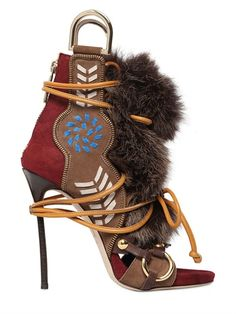 Dsquared2 130Mm Leather & Fox Fur Sandals